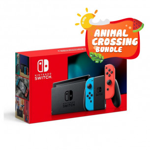 New Nintendo Switch Neon Red Blue - Animal Crossing Bundle