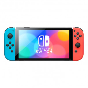Nintendo Switch (OLED model) with Neon Red Blue Joy‑Con